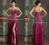 Wholesale Simple Floral Prom Dresses - Split Side prom dresses 2015 sheath sweetheart Sequined Floral Sash Floor-length Cheap Pageant Dress Party Gowns GD-063