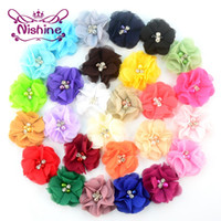 "Wholesale Chiffon Flowers Pearl Diy - Nishine 2"" Layered Chiffon Fabric Flowers With Pearl Rhinestone DIY Hair Flower Headwear Supplies Hair Accessories"