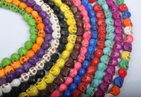 Wholesale Mixed Skull Howlite Beads - DIY 18mm*15mm cheap mixed color howlite turquoise Hallowmas carve big skull spacer loose beads wholesale 100pcs lot