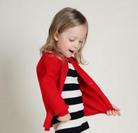 suéter cardigan amarillo niñas al por mayor-2016 Primavera Nueva Moda Niños Ropa Niñas Sólido Gran Marca Cardigan Suéteres Niños Casual Tejidos Tops Rojo Negro Amarillo K6085