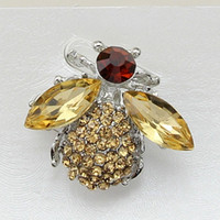 Wholesale Amber Bee - Free postage 2016 new champagne diamond jewelry acrylic bee pin brooch upscale clothing and clothing accessories gifts