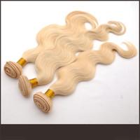 sarışın brazilian dalga saç paketleri toptan satış-9A Sarışın Brezilyalı Saç Vücut Dalga 613 # Sarışın Saç Uzantıları 3 Bundle arası Işlenmemiş Vücut Dalga İnsan Saç Atkı Sarışın Örgü