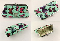 Wholesale Green Butterfly Canvas - 6 Inch Butterfly Printing Canvas Coin Purse Lady Long Large Snap Closure Wallet Green Red White Colors Handbag