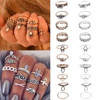 Atacado - Retro 10Pcs / Set Silver Gold Boho Fashion Arrow Moon Midi Finger Knuckle Ring