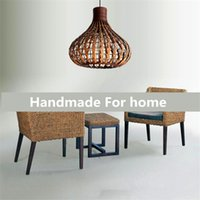 Wholesale Led Chinese Ce Rohs - Southeast Asia rural chandelier pendant lamp handwoven restaurant cany art classical droplight Teahouse Chinese rural bedroom lamp droplight