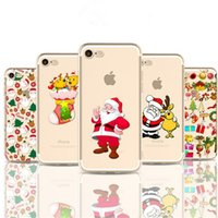 Wholesale Iphone 4s Case Cover Christmas - Transparent Clear Soft TPU Case Christmas Dream Catcher Cartoon Cases Painting Back Cover For iPhone X 8 7 plus 6 6s plus 5s 5c 4s