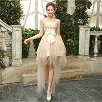 uzun geri kısa ön mezuniyet elbisesi toptan satış-Sıcak Satış Abiye Kısa Ön Uzun Arka Düğün Kıyafeti Yepyeni Gelin Balo Balo Eve Dönüş Mezuniyet Resmi elbise