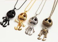 Wholesale Necklace Big Chain Vintage - Wholesale-N157 4 Style Vintage Jewelry big eyes UFO Alien Skull Head Pendants Long Sweater Chain Necklaces for Women Free Shipping #119