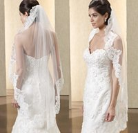 Wholesale Ivory Black Bridal Veils - Hot Sell Bridal Veils 2015 from Eiffelbride with Embellished Lace Applique Short White   Ivory Color Tulle Wedding Veils