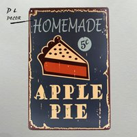 Wholesale Homemade Gift Packaging - DL- Vintage home decor Homemade Apple pie wall sticker decorative wall plaque gift living room wall sticker