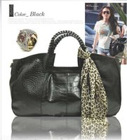 Wholesale Leather Handbags Scarf - 2015 Crocodile Handbags Women Ladies Tote Bag With Scarf Fashion Purse PU Leather Handbag Shoulder Bag