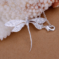Wholesale Dragonfly Pendant 925 Silver Necklace - fashion necklace 925 silver dragonfly pendant necklace fit o chain necklace 18inch