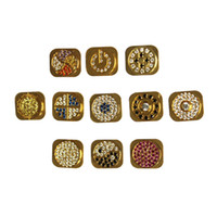 Wholesale Wholesale Bling Iphone Home Button - Wholesale-Diamante Bling Gold home button Replace For iPhone 5G home key 11 Styles