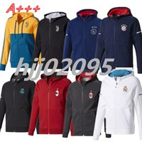 Wholesale Embroidery Belt - New Style Soccer hoodie jacket Real Madrid Uniforms17 18 AC milan with caps ajax DYBALA tracksuit sweater jogging survetement Zipper jackets