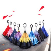 Wholesale C 55 - Durable 42 Patterns Umbrella Sunny Rainy Folding Inverted Umbrellas C Handle Double Layer Self Stand Inside Out Reverse Windproof Umbrellas