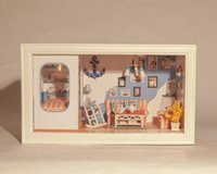 Wholesale-3D miniaturas LUZ Dollhouse LED Long Vacation Mar Egeo Villa marco grande