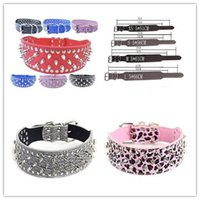 Wholesale Pitbull Dogs Pets - 12 Colors New Spiked Studded Leather dog collars pitbull Boxer Mastiff Breeds collars Pet Collars 100% Quality 4 Sizes available 5pcs 526