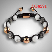 Wholesale Strip Brass - new and hot shamballa alloy cool dill Strip Weave adjust Natural stone High-grad Beads bracelets Nialaya factory handmade bracelets ZXF8291
