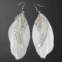 Wholesale White Feathers For Sale - 2015 New Arrival Alloy Angel Wing Feather Dangle Earring Fashion Jewelry Chandelier Drop Long Earrings for Women Gilrs Hot Sale [JE04003*12]