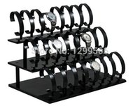Wholesale Tier Watch Stand - Wholesale-Free shipping high quality new style 3-Tier Watch Stand Holder Removable 24 Black Acrylic Watch Display Rack Watch Frame