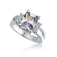 Wholesale Big Stone Ring Designs - Wholesale-Crystal Shop Brand Design Delicate Shiny Square Big Stone Austrian Crystal Engagement Ring Zircon Wedding Rings For Women M12