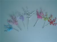 purple garlands 도매-50 bunches 우아한 bombonieres 결혼식 호의 -TEARDROP 보석 크리스탈 선택 꽃 스프레이, 화이트 핑크 PURPLE 붉은 청록색 녹색 크리스탈 garland