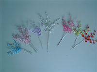 cristal de lágrima púrpura al por mayor-50 racimos elegantes bombonieres favor de la boda-TEARDROP JOYA CRISTAL recogen flores en spray, blanco Rosa PÚRPURA rojo turquesa verde cristal guirnalda