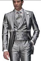 Wholesale Mens Champagne Wedding Suit - 2015 New Style One Button Silver Grey Groom Tuxedos Peak Lapel Groomsmen Best Man Mens Wedding Suits (Jacket+Pants+Vest+Tie) G964
