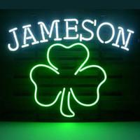 "Wholesale Shamrock Light Sign - 17""x14"" Jameson Irish Whiskey Shamrock Design Real Glass Neon Light Signs Bar Pub Restaurant Billiards Shops Display Signboards"