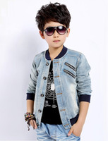Wholesale Boys Youth Jacket - Big Boys And Girls Outwear Good Quality Denim Jackets Coats For Youth Fashion Applique Zipper Big Children Tops 120-160 Fit 5-12Age K359