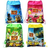 Wholesale Despicable Backpacks - 34x27cm Retail Despicable Me drawstring bags Super Mario backpacks handbags children Frozen school bags kids' shopping bags Gift present