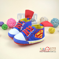 Wholesale Top Baby Model - 60 pairs New Baby Boys High Top Shoes blue Superman Modelling Toddler shoes soft sole baby Walkers Free shipping 6pairs lot