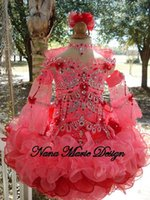 2015 Beautiful Water Melon Glitz Little Girl Pageant Dress Sheer Long Sleeves Crystal Beaded Sequined Ruffles Short Kids Infant Party Gowns