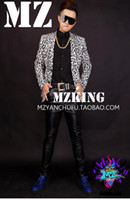 Wholesale Leopard Print Dance Costumes - White male singer fashionable nightclub in Europe and the runway looks m stretch a leopard-print suit costumes. S - 6 xl