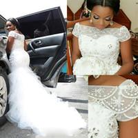 Custom Made Plus Size Arabic Nigerian Wedding Dress Bateau Neckline Beading Short Sleeve Tiered Long Chapel Train 2017 Mermaid Bridal Gowns
