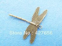 Wholesale Antique Bronze Filigree Charm Findings - 10pcs Filigree Antique Silver tone  Antique Bronze Cute Dragonfly Pendant Hanging Charm Finding,DIY Accessory Jewellery Making