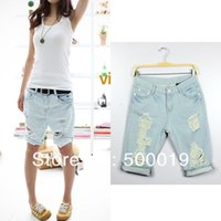 Wholesale Lady S Stockings - Sale!! 2014 Fashion Dog Pattern Embroidery Pocket Hole Ladies high waist denim Jeans short Pants S M L XL in stock