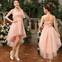 Wholesale One Shoulder Hi Lo Dress - 2017 New Fashion One Shoulder High Low Bridesmaid Dress With Bow Elegant Bridesmaid Gowns Short Front Long Back