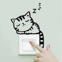 Wholesale Cat Tile - Wholesale- Hot 9 Styles DIY Funny Cute Cat Animal Switch Stickers Wall Stickers Home Decoration Bedroom Parlor Decoration Free Shipping
