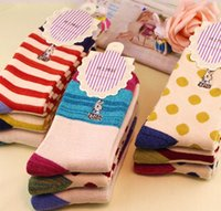 Wholesale Thicker Chiffon - 2015 free shipping socks for man women baby-- Peter Winter thicker section striped rabbit warm socks personalized socks terry towel socks wh