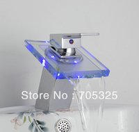 Wholesale Nice Waterfall Chrome Brass Bathroom - Advanced Modern Need Battery Colorful Nice LED Waterfall Chrome Brass Bathroom Mixer Tap Faucet MC01