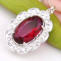 Luckyshine Best Wholesle Price 3 Pieces Superbe Oval Fire Ruby Quartz Crystal Gems 925 Sterling Silver USA Israel Mariage Pendentifs Mariages