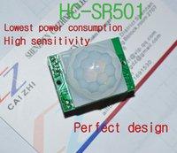 módulos pir al por mayor-Al por mayor-libre del envío HC-SR501 Ajustar infrarrojo IR piroeléctrico módulo infrarrojo PIR Sensor de movimiento Detector Módulo Somos el fabricante