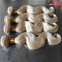 hint remy insan saç sarışın toptan satış-Sıcak Satış Sarışın remy İnsan saç atkı vücut dalga 4 paketler brezilyalı perulu hint virgin İnsan saç uzantıları # 613 renk boyalı olabilir