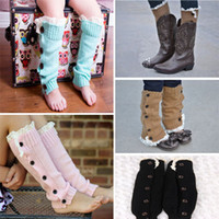 Wholesale Kids Knitted Boots - Fashion Warm Kids Girls Trendy Knitted Button Lace Leg Warmers Trim Boot Cuffs Socks Winter Children Legging Sock seals168 JH16-S04