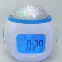 Wholesale Digital Snooze Alarm Clock Bedside - New table clocks Mute electronic calendar individuality present creative multifunction bedside music colorful sky projection alarm clock