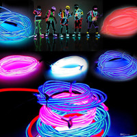 Wholesale Wholesale Car Neon Lights - 3M Led Flexible Neon Light Glow EL Wire Rope Tube Flexible Neon Light 8 Colors Car Dance Party Costume+Controller Holiday Decor Light 10