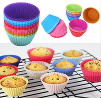 Grosses soldes! forme ronde silicone Muffin Cupcake Moule Case Ustensiles Maker bac moule tasse de bicarbonate Liner cuisson Moules
