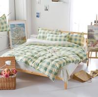 Wholesale Aqua Comforter Sets - Wholesale-Brand New Aqua Checked Comforters Sweet Cotton Bedlinen Plain Home Bedding Set Twin Queen King Size Wholeasle