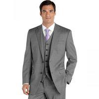 Wholesale Mens Dress Burgundy Suit - Custom Made Gray Groom Tuxedos Two Buttons Mens Suits Notched Lapel Wedding Suits Fashion Prom Dress Suit (Jacket+Pants+Vest+Tie)